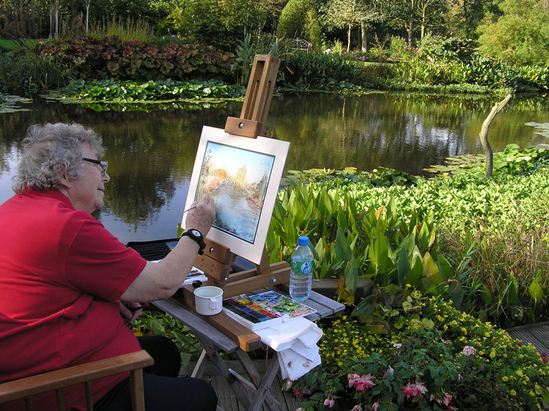 National Garden Scheme Pat Howe at Dale Farm painting autumnal scene