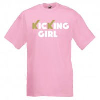 kicking girl 61G-white-and-gold-on-pink-Tshirts