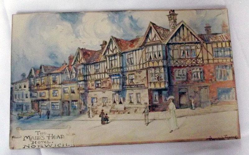Edwardian watercolour Maids Head Hotel